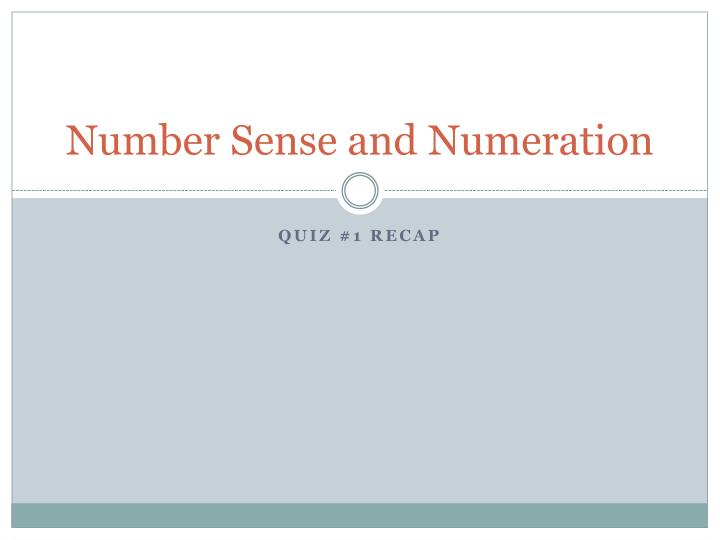 number sense and numeration n.