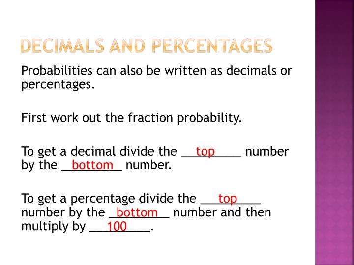 Decimals and Percentages
