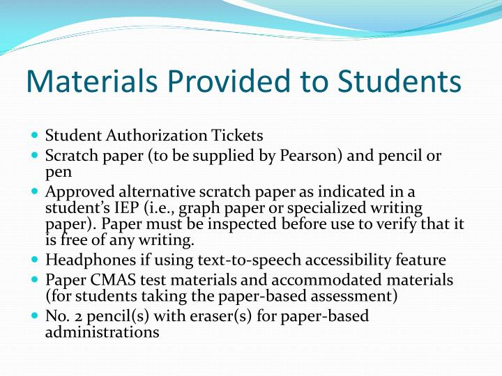 Materials Provided to Students