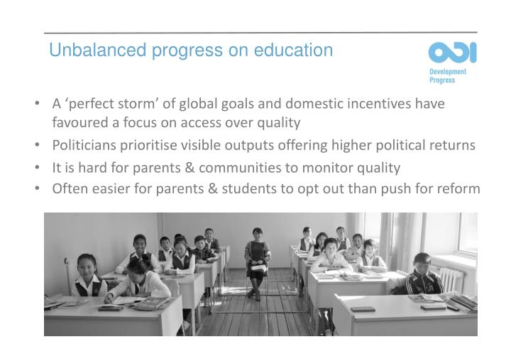 Unbalanced progress on education