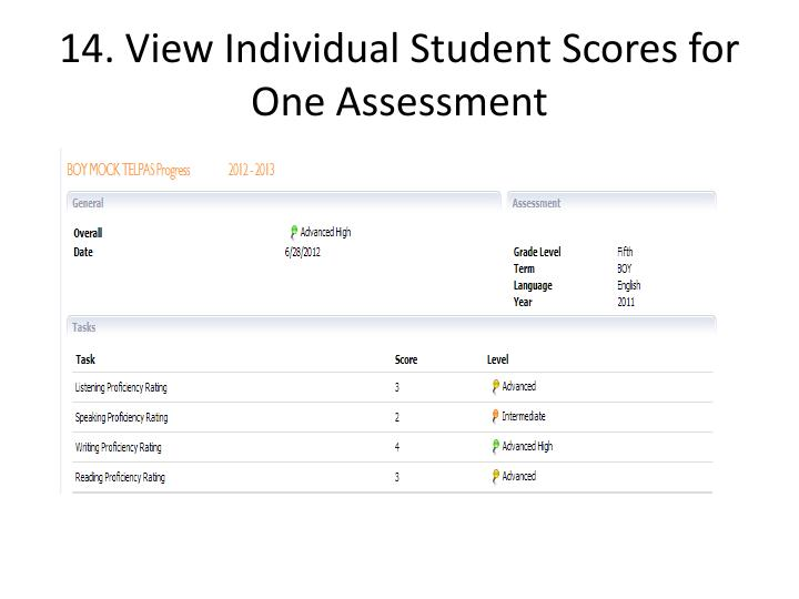 14. View Individual Student Scores for