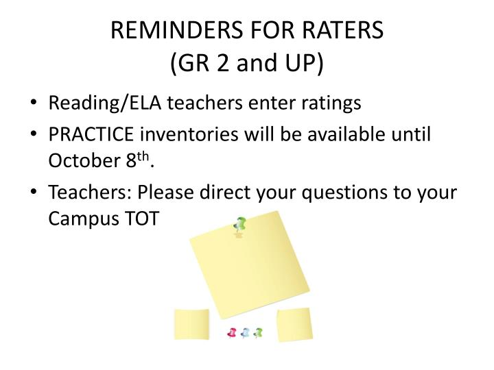 REMINDERS FOR RATERS