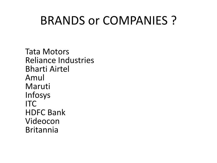Brands or companies