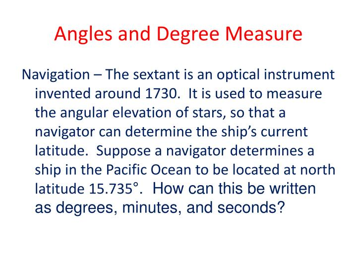 Angles and Degree Measure