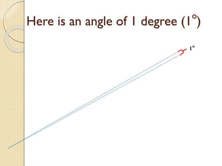 Here is an angle of 1 degree (1