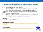 comparing the ryan to the white house budget