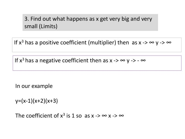 3. Find out what happens as x get very big and very small (Limits)