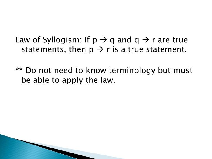 Law of Syllogism: If p
