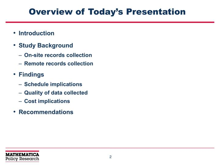 Overview of today s presentation