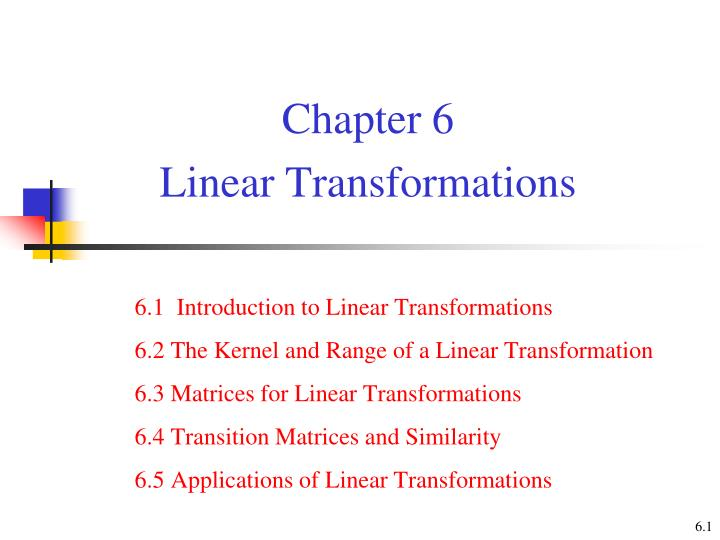 chapter 6 linear transformations n.