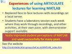 experiences of using articulate lectures for learning matlab