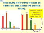 i like having lecture time focussed on discussion case studies and problem solving