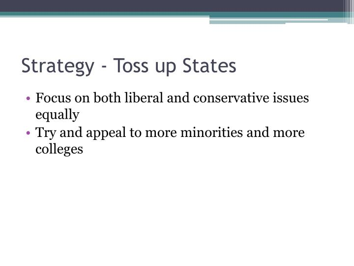 Strategy - Toss up States
