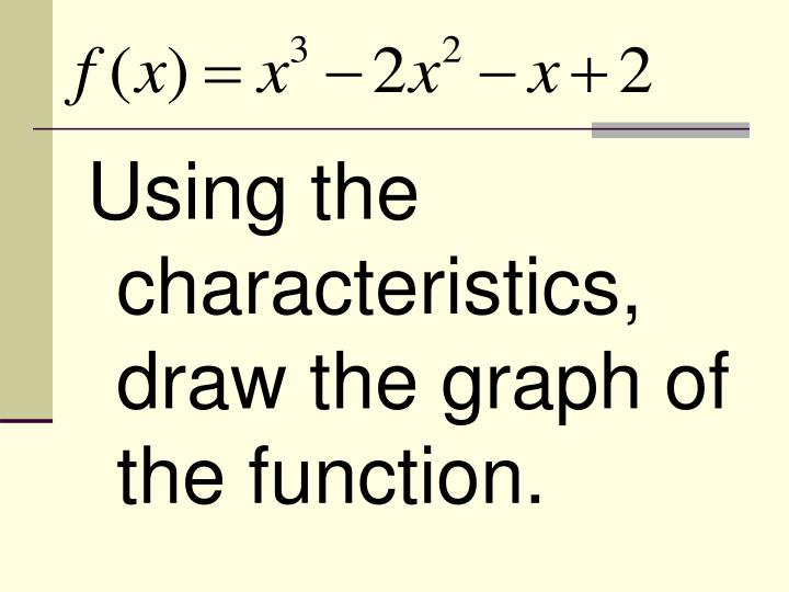 Using the characteristics, draw the graph of the function.