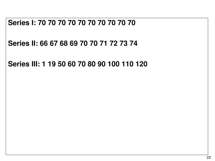 Series I: 70 70 70 70 70 70 70 70 70 70