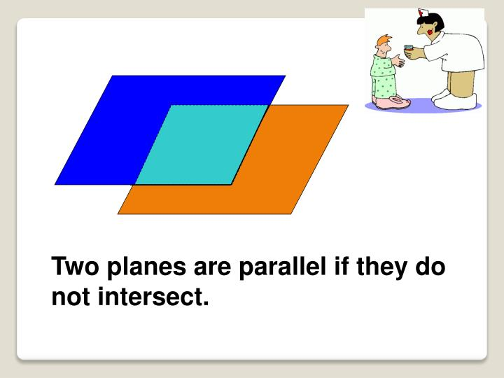 Two planes are parallel if they do not intersect.