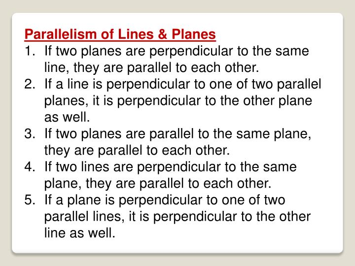 Parallelism of Lines & Planes