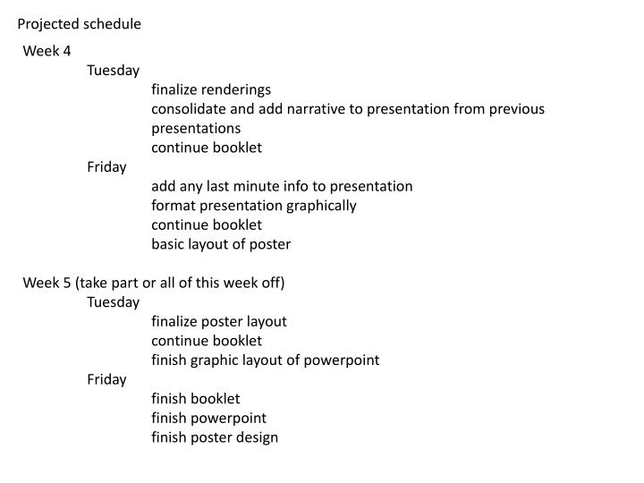 Projected schedule