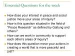 essential questions for the week