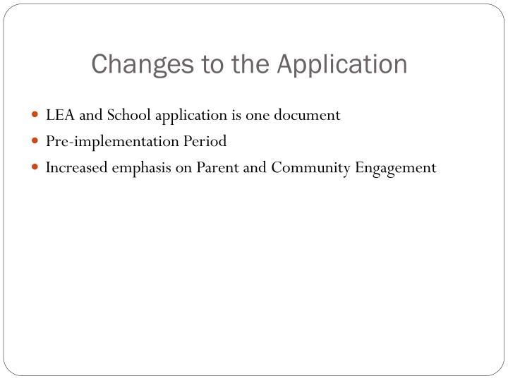 Changes to the Application