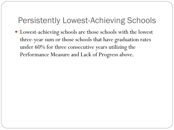 Persistently Lowest-Achieving Schools