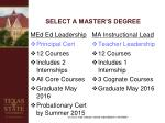 select a master s degree