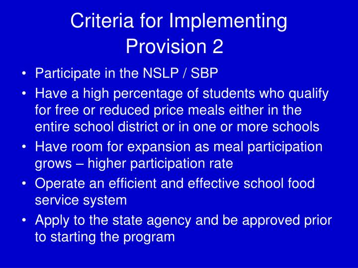 Criteria for Implementing