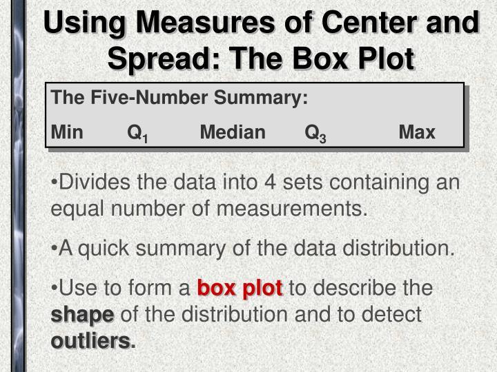 Using Measures of Center and Spread: The Box Plot