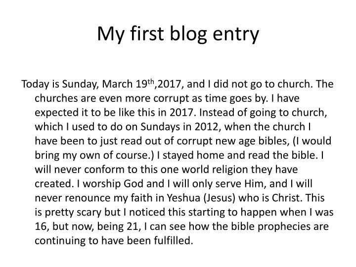My first blog entry