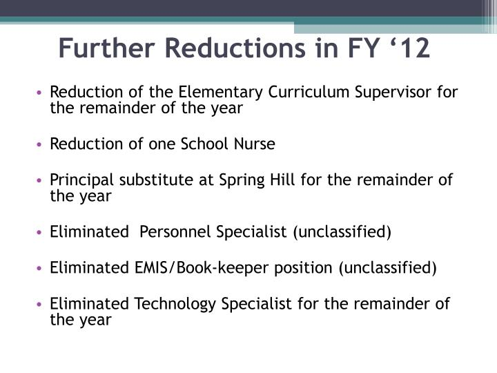 Reduction of the Elementary Curriculum Supervisor for the remainder of the year
