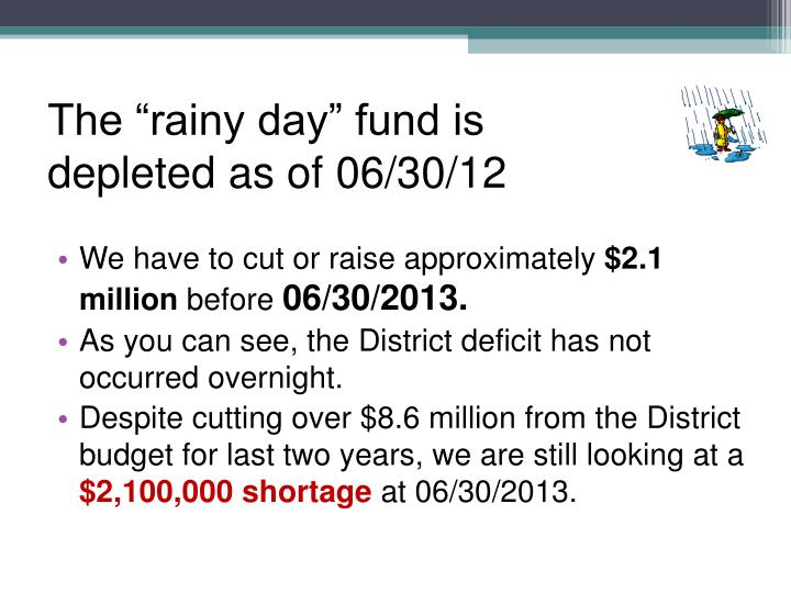 """The """"rainy day"""" fund is depleted as of 06/30/12"""