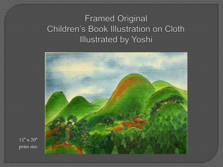 Framed original children s book illustration on cloth illustrated by yoshi