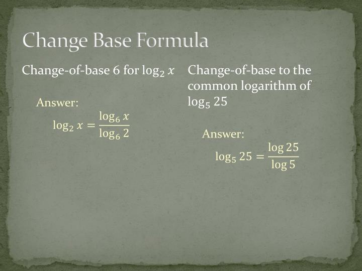 Change Base Formula