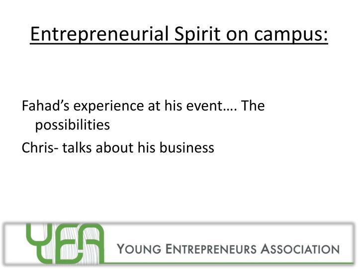 Entrepreneurial Spirit on campus: