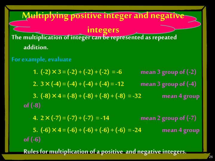 Multiplying positive integer and negative