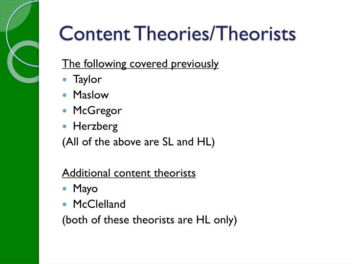 Content Theories/Theorists