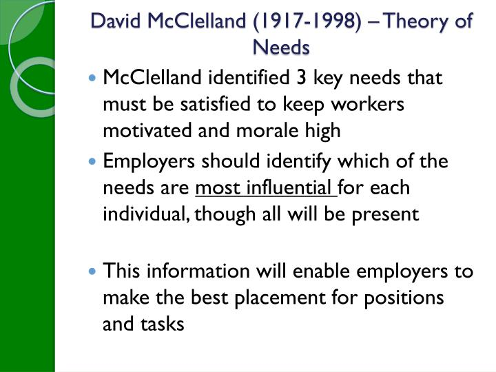 David McClelland (1917-1998) – Theory of Needs