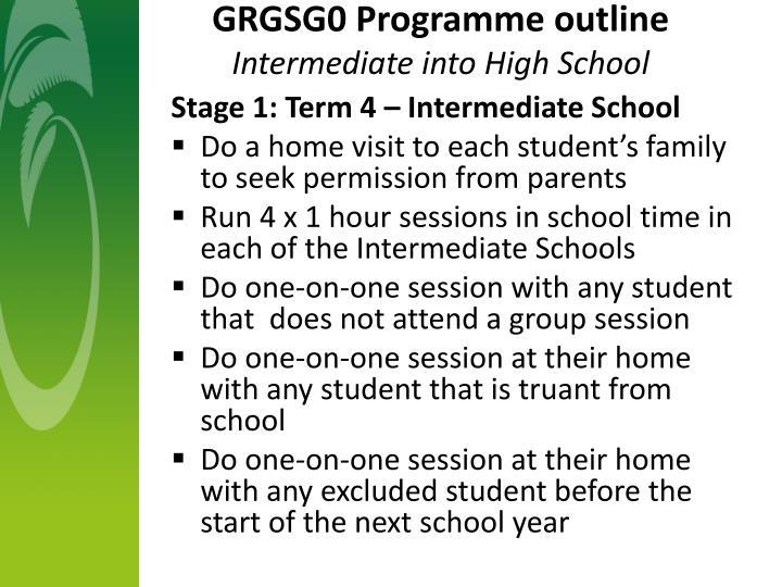 GRGSG0 Programme outline