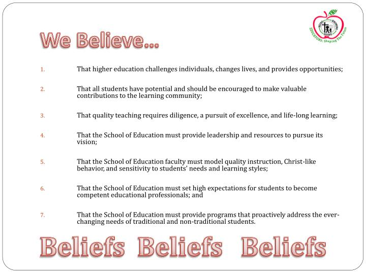 We Believe…
