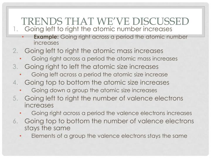 Trends that we've discussed