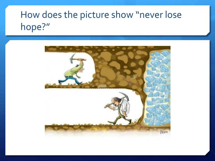 """How does the picture show """"never lose hope?"""""""