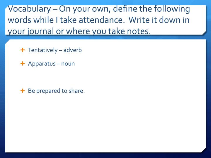 Vocabulary – On your own,