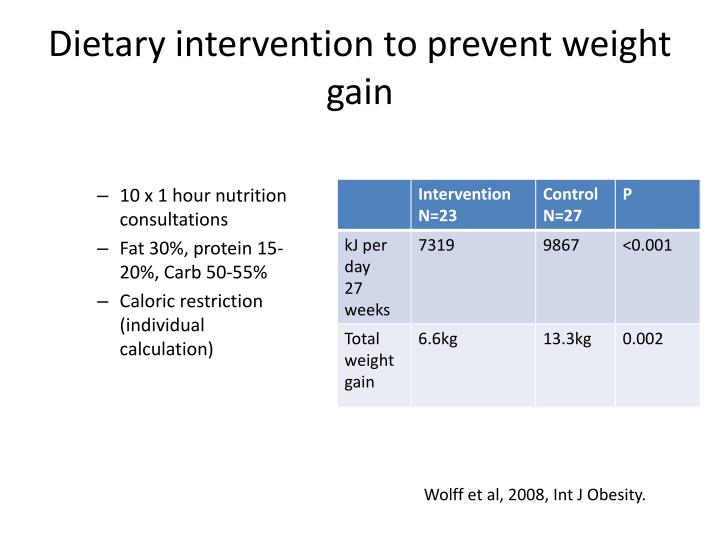 Dietary intervention to prevent weight gain
