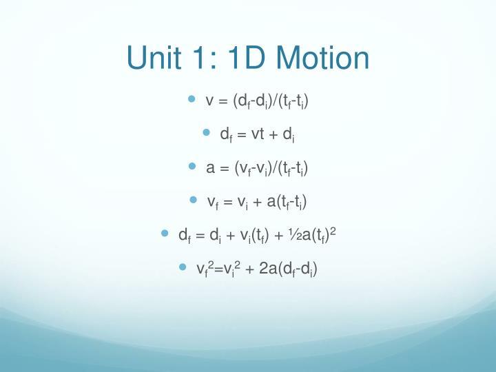 Unit 1 1d motion
