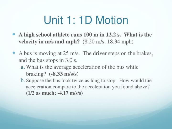 Unit 1: 1D Motion
