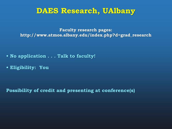 DAES Research, UAlbany