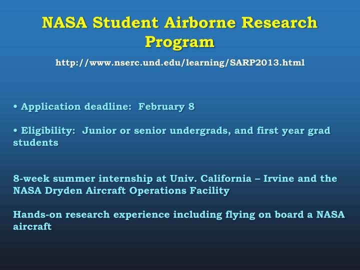 NASA Student Airborne Research Program