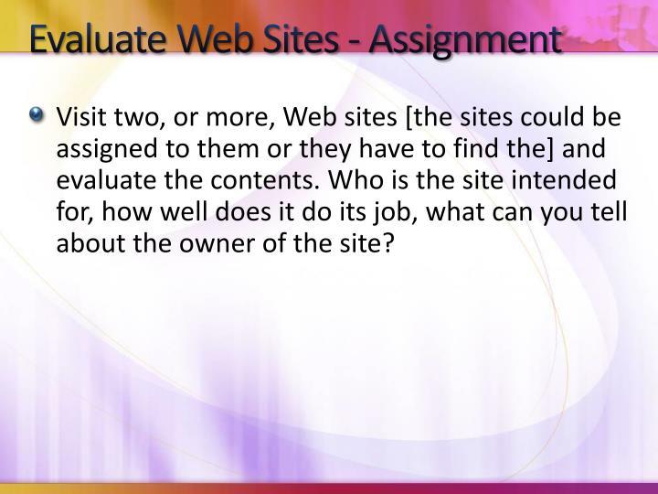 Evaluate Web Sites - Assignment