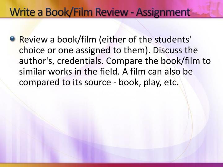 Write a Book/Film Review - Assignment