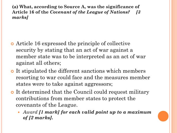 (a) What, according to Source A, was the significance of Article 16 of the